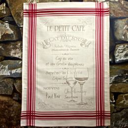 Le Petit Cafe Jacquard Tea Towel Made in France