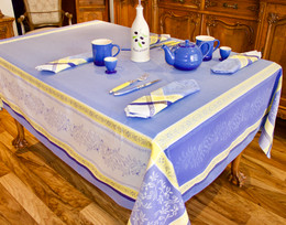Olivia Blue Jacquard French Tablecloth 160x250cm 8seats Made in France