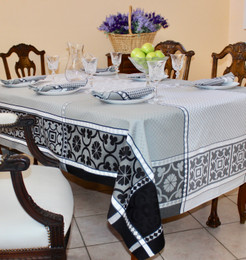 Marius Black Jacquard FrenchTablecloth 160x200cm  6seats Made in France