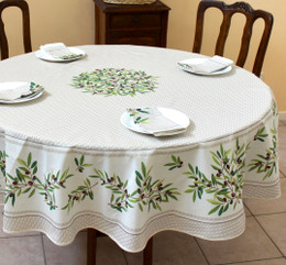 Nyons Ecru French Tablecloth Round 180cm COATED Made in France