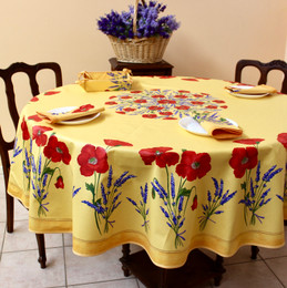 Poppy Yellow XXL French Tablecloth Round 230cm Made in France