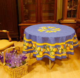 Lemon Blue XXL French Tablecloth Round 230cm COATED Made in France