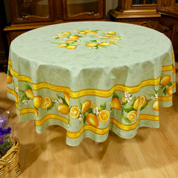 Lemon Green XXL French Tablecloth Round 230cm COATED Made in France