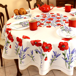 Poppy Ecru XXL French Tablecloth Round 230cm COATED Made in France