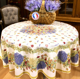 Lavender & Roses XXL French Tablecloth Round 230cm COATED Made in France