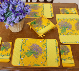 Lavender Yellow Quilted Placemat COATED Made in France
