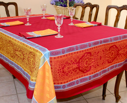 Vaucluse Carmen Jacquard French Tablecloth 160x250cm 8seats Made in France