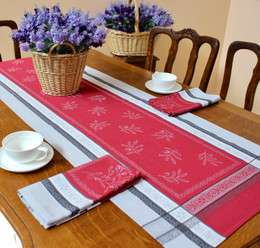 Olivia Red 53x170cm French Jacquard Table Runner Made in France