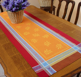 Olivia Orange 53x170cm French Jacquard Table Runner Made in France
