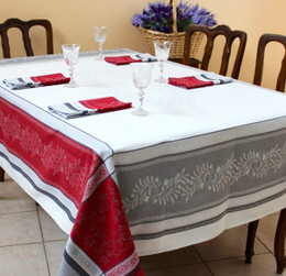 Olivia Red Jacquard French Tablecloth 160x300cm 10seats Made in France