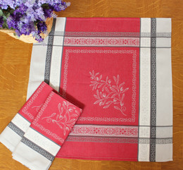 Olivia Red French Jacquard Napkin Made in France