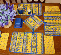 Marat Avignon Yellow Quilted Placemat COATED Made in France
