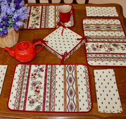 Marat Avignon Ecru Quilted Placemat COATED Made in France
