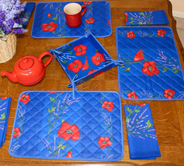 Poppy Blue Quilted Placemat COATED Made in France