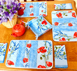 Poppy Light Blue Quilted Placemat COATED Made in France