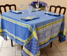 Vaucluse Yellow 160x160cm Square Jacquard French Tablecloth Made in France