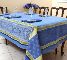 Vaucluse Yellow Jacquard FrenchTablecloth 160x200cm  6seats Made in France