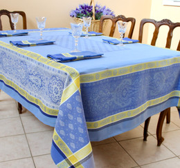 Vaucluse Yellow Jacquard French Tablecloth 160x300cm 10seats Made in France