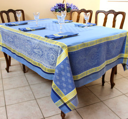 Vaucluse Yellow 160x350cm 12Seats Jcquard French Tablecloth Made in France