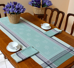 Olivia Green 53x170cm French Jacquard Table Runner Made in France