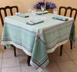 Olivia Green 160x160cm Square Jacquard French Tablecloth Made in France