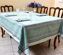 Olivia Green Jacquard FrenchTablecloth 160x200cm  6seats Made in France