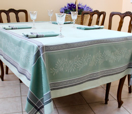 Olivia Green Jacquard French Tablecloth 160x250cm 8seats Made in France