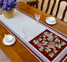 Vendanges Red  50x167cm French Thick Jacquard Tapestry Style Runner Made in France