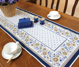 Mazan Blue 48x165cm French Thick Jacquard Tapestry Style Runner Made in France