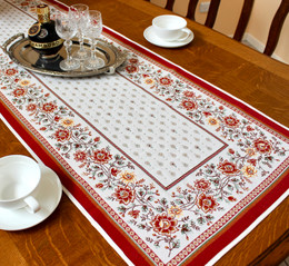 Mazan Rust 48x165cm French Thick Jacquard Tapestry Style Runner Made in France