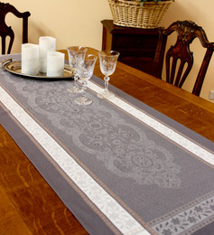 Dentelle Grey 52x150cm French Jacquard Table Runner Made in France