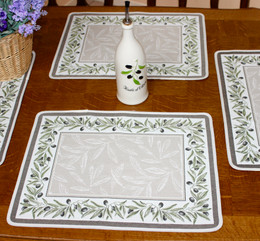 Auriol Green Jacquard Tapestry Style Placemat Made in France