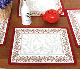 Auriol Red/White Jacquard Tapestry Style Placemat Made in France