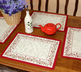 Auriol Red/Ecru Jacquard Tapestry Style Placemat Made in France