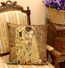 G Klimt Kiss Tapestry Cushion Cover Made in France