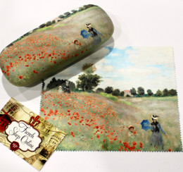 Claude Monet Poppy Field Hard Glasses Case with Microfibre Cloth