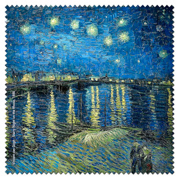 Vincent Van Gogh Starry Night on the Rhone  Microfiber Cleaning Cloth Made in France