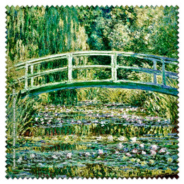 Claude Monet Japanese Bridge and Water Lilies Microfiber Cleaning Cloth Made in France