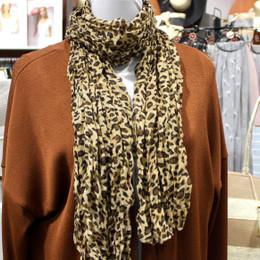 Wrinkle Scarf Leopard Beige Brown
