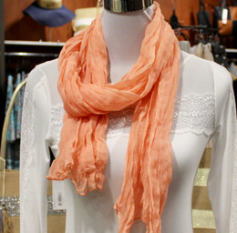 Wrinkle Scarf Solid colour Salmon