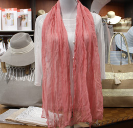 Wrinkle Scarf Solid Colour Pink