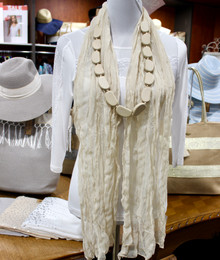 Wrinkle Scarf Solid Colour Ivory
