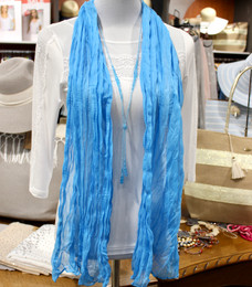 Wrinkle Scarf Solid Colour Turquoise
