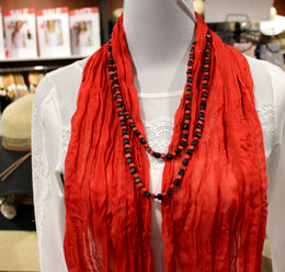 Wrinkle Scarf Solid Colour Red