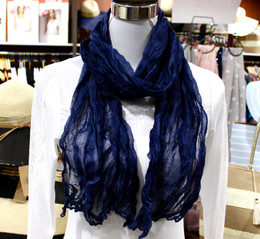 Wrinkle Scarf Solid Colour Navy