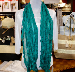 Wrinkle Scarf Solid Colour Emerald