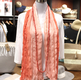 Wrinkle Scarf Ombre Peach