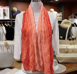 Wrinkle Scarf Ombre Coral