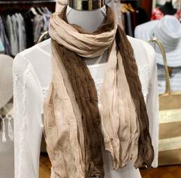 Wrinkle Scarf Ombre Brown-Beige