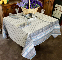 Marat Avignon Bastide Turquoise Square 150x150cm COATED Tablecloth Made in France
